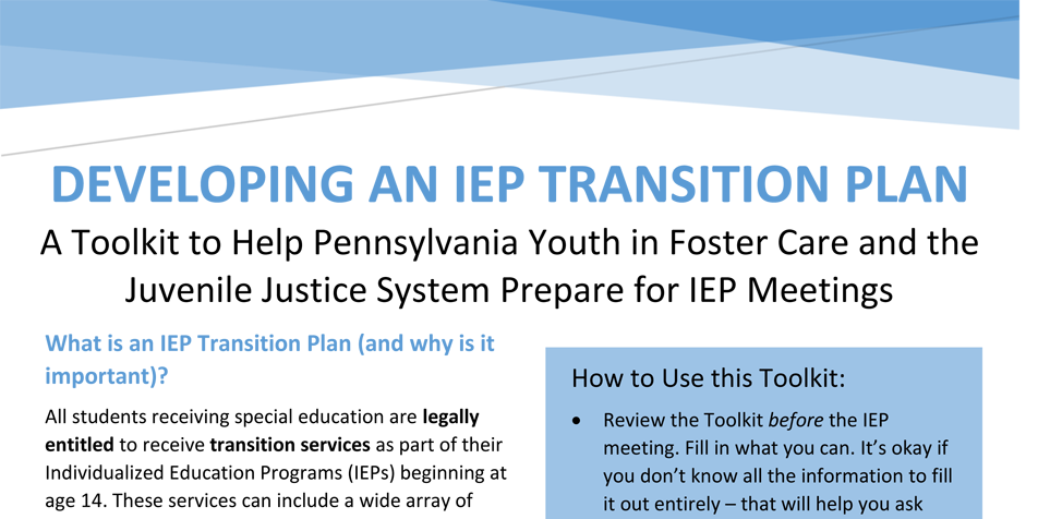 Planning For Transition Before >> Developing An Iep Transition Plan Juvenile Law Center