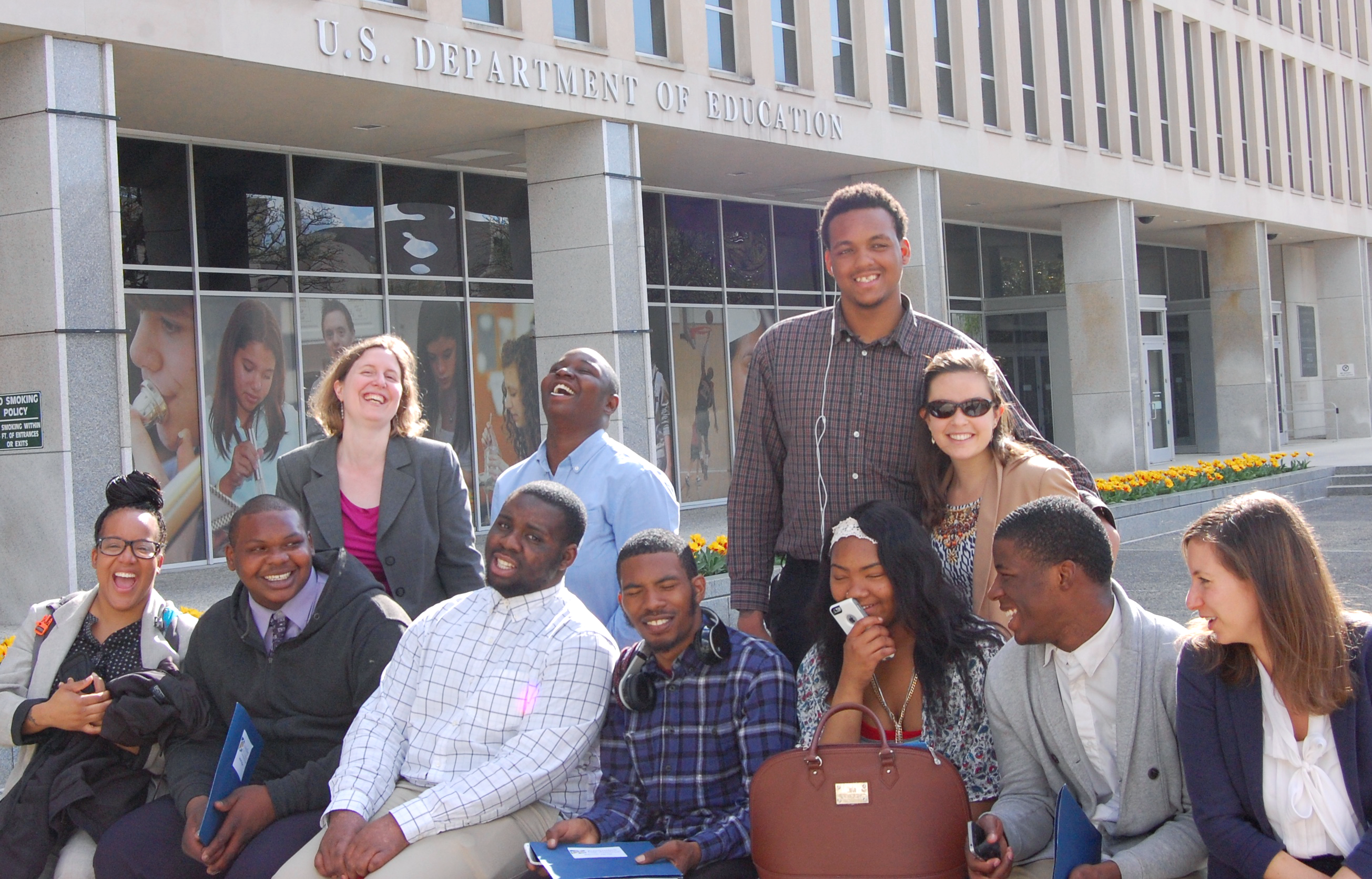 J4J youth advocates outside the US Dept. of Education in a 2015 trip to Washington, DC.