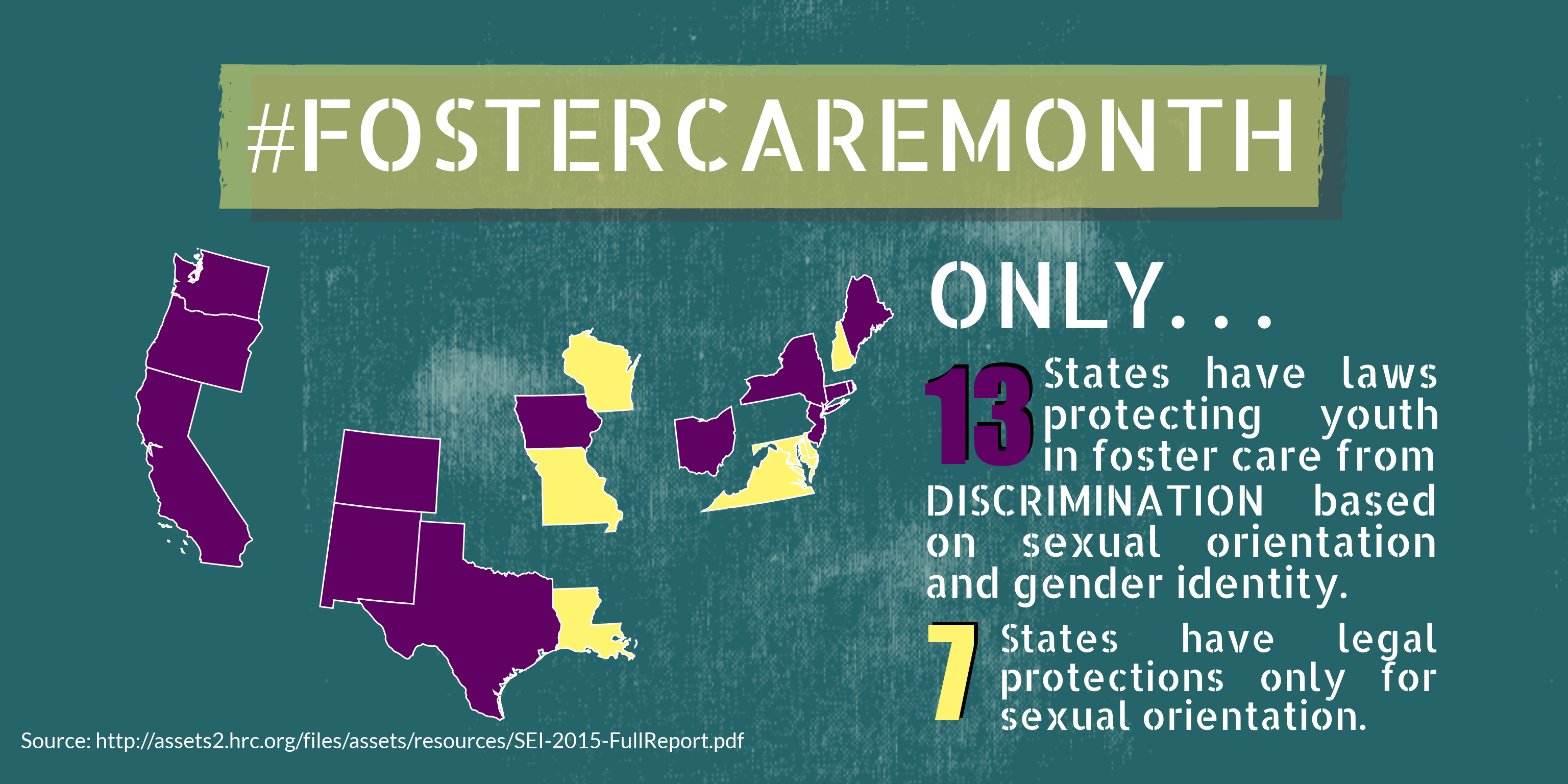Infographic: only 13 states protect youth in foster care from discrimination based on sexual orientation and gender identity.