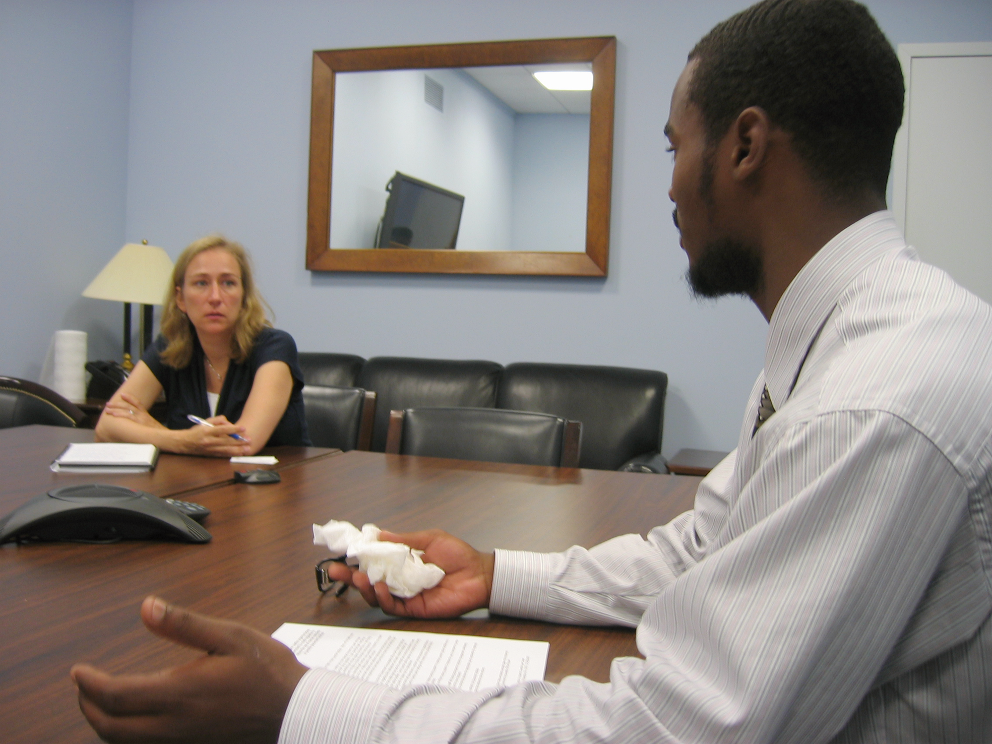 Youth advocate speaking with U.S. Senate staff.