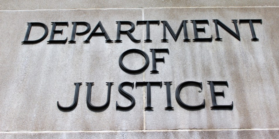 Department of Justice sign.