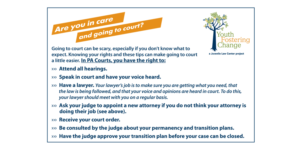 Youth Fostering Change Court Rights Card