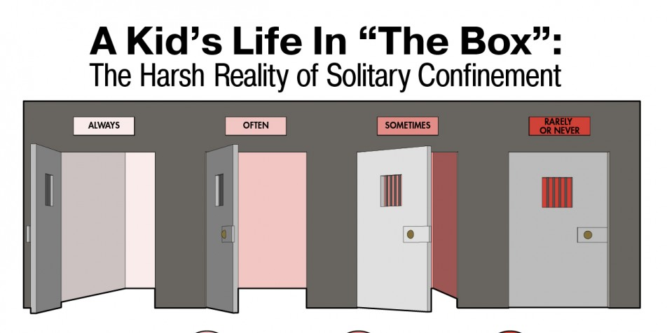 Infographic of solitary confinement facts.