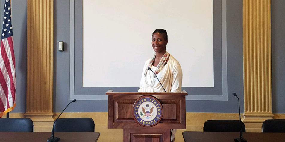 Shyara Hill at a congressional briefing in Washington, D.C.