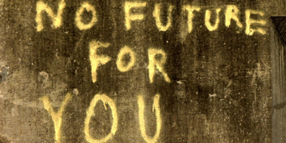 "Photo of graffiti saying ""no future for you."""